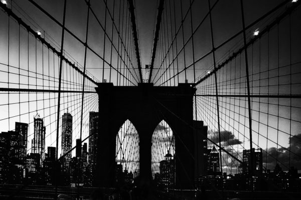 Brooklyn Bridge at Sunset Black & White