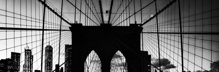Brooklyn Bridge at Sunset Black & White