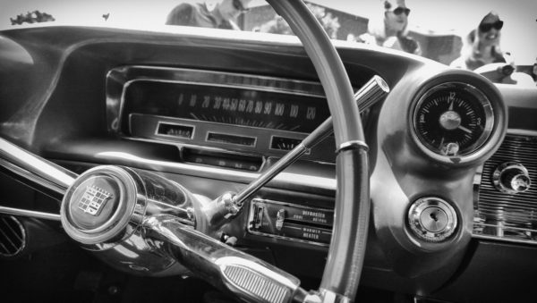 The dash of an old Cadillac
